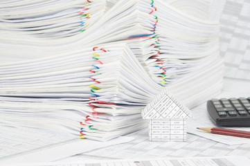 House and pile paperwork on finance account