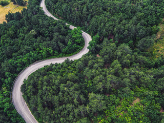 Aerial view over mountain road