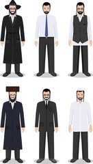 Set of different standing jewish men in the traditional clothing isolated on white background in flat style. Differences jewish people in the traditional dress. Vector illustration.