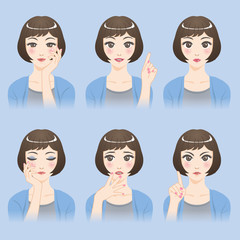 asian woman character set, various pose and expression, cartoon illustration, vector