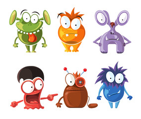 Cartoon cute character monsters vector set. Crazy monsters with funny grimace, bizarre monster illustration
