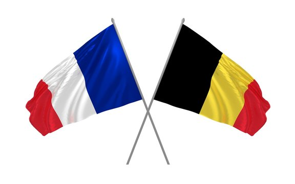 3d illustration of Belgium and France flags together waving in the wind