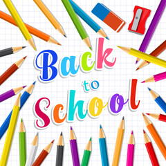 Back to school. Rainbow pencils and eraser