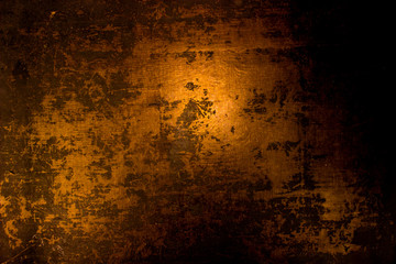 old scary rusty rough golden and copper metal surface texture/background for Halloween or haunted house games background/texture of wall