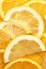 Orange and lemon slices background