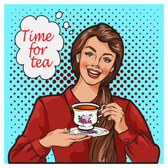 Pop Art illustration of woman with morning cup of tea. Pin-up girl speech bubble. Fashion, sexy wife, hand drawn vector illustration Background