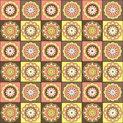 Seamless hand drawn mandala pattern for printing on fabric or paper. Vintage decorative elements in oriental style. Islam, Arabic, indian, turkish,ottoman motifs.  Vector illustration.