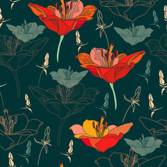 Floral seamless pattern. Vector background with flowers.
