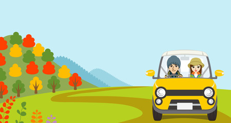 Car Driving in Autumn nature, Young Couple  - Front view