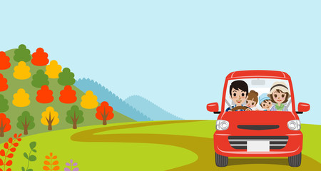 Car Driving in Autumn nature, Young Family  - Front view