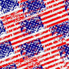 Seamless pattern from flag of the United States of America. Amer
