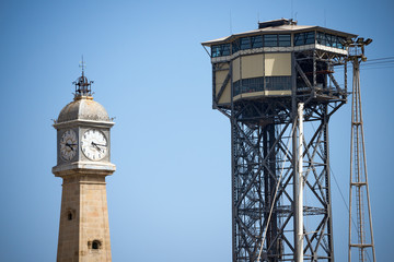 Cableway and Clock Tower - Barcelona Spain