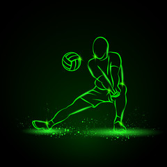 Volleyball player plays volleyball. Vector neon illustration on a black background.
