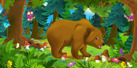 Cartoon scene with happy bear standing in the forest - illustration for children