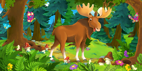 Cartoon scene with happy moose standing in the forest - illustration for children