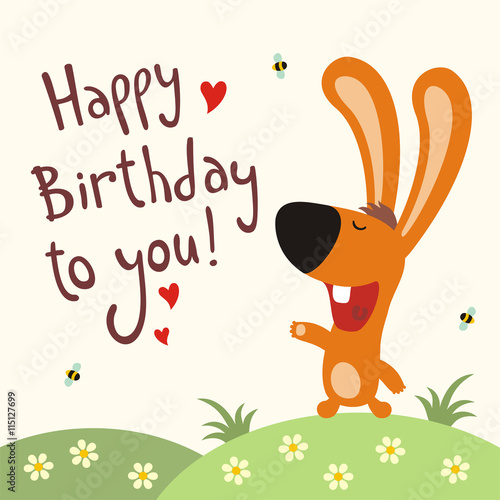 Happy Birthday To You Funny Bunny Sings Song Card