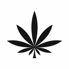 Cannabis leaf icon in simple style isolated vector illustration. Plants symbol