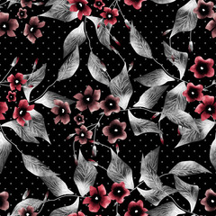 Seamless floral pattern dark background flowers ornament wallpap