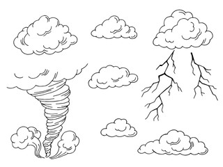 Clouds set graphic tornado lightning art black white isolated illustration vector