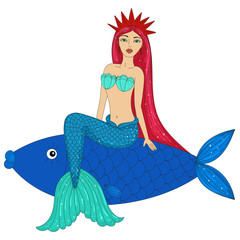 Beautiful mermaid and big fish. Siren. Sea theme.Hand drawn vector illustration on a white background.