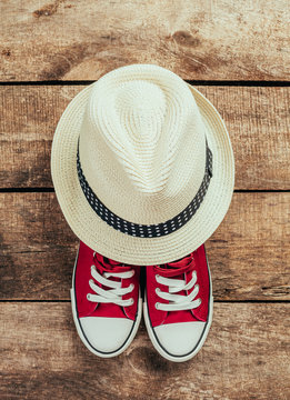 sneakers and hat
