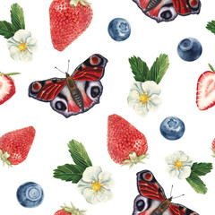 watercolor strawberry and butterfly pattern
