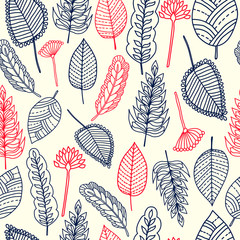 Floral seamless pattern. Hand drawn leaves. Colorful background