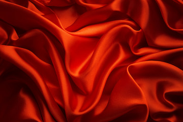 Silk Cloth Background, Red Satin Fabric Waves, Abstract Texture