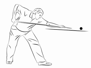 silhouette snooker player. vector drawing