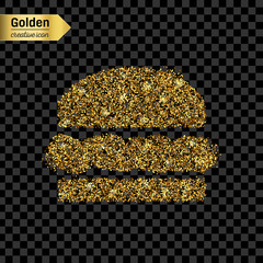 Gold glitter vector icon of hamburger isolated on background. Art creative concept illustration for web, glow light confetti, bright sequins, sparkle tinsel, abstract bling, shimmer dust, foil.