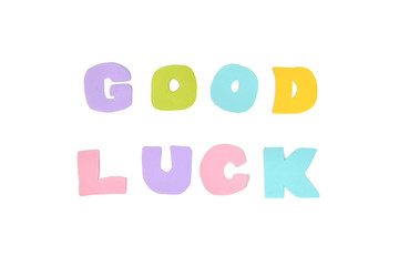 Good luck text on white background - isolated