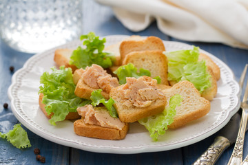 toasts with pate on white dish on blue background