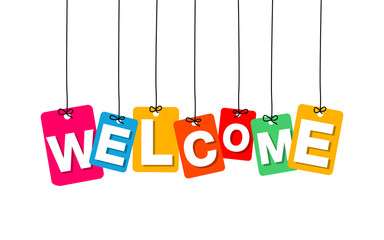 Vector colorful hanging cardboard. Tags - welcome