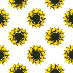 vector illustration seamless pattern yellow sunflowers