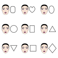 Types of woman's faces. Vector set of different forms of female face.