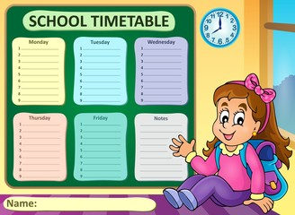 Weekly school timetable theme 7