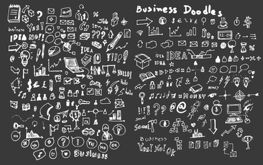 Hand drawn business icon set