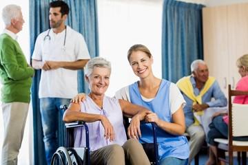 Nurses taking care of seniors