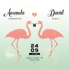 Wedding flamingo. Save the date.