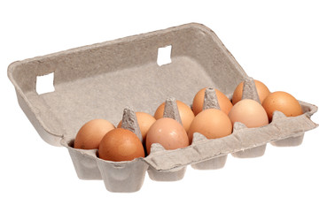 Eggs in packaging on a white background