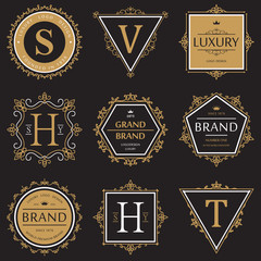 Set of ornate brand or product banner and logo