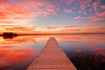 Fishing dock at sunrise