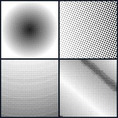 Set of Pop Art Background , Black Dots on a White Background, Halftone Background, Retro Style, Vector Illustration