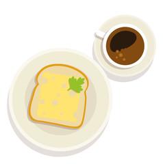 Kaffee und Toast zum Frühstück - Vektor