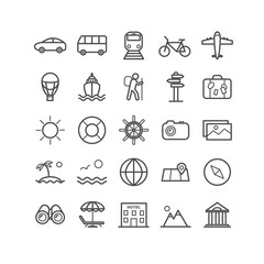 Set of outline travel icons. Vector thin icons for web, print, mobile apps design