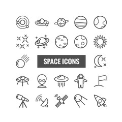 Collection of outline space icons. Linear icons for web, mobile apps