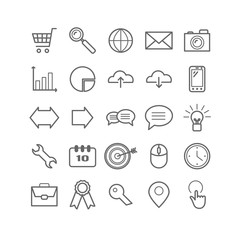 Set of outline Search Engine Optimization icons. Linear SEO icons  for web, print, mobile apps