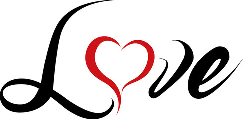 Love - Schrift mit Herz