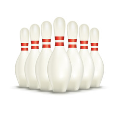 Set of Isolated on White Bowling Pins