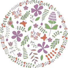 Vector illustration of circle made of flowers and butterflies. Round shape made of butterflies, leaves and flowers. No background